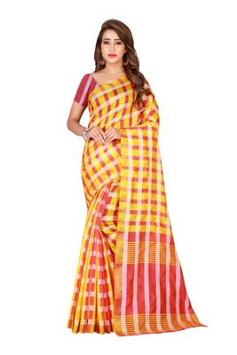 Gold printed poly silk saree with blouse