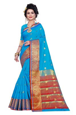 Sky blue woven pure cotton saree with blouse