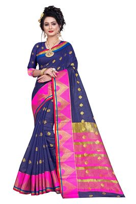 Navy blue woven pure cotton saree with blouse