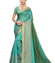 Green Cotton Silk Saree With Blouse