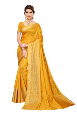 yellow Cotton Silk Saree With Blouse