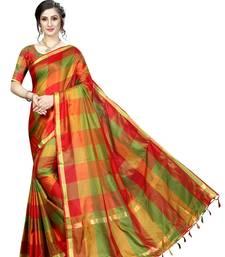Red Ikat Checks Cotton Silk Saree With Blouse