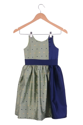 Kids Girl Pista Cotton Silk Frock