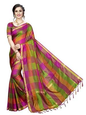 Pink Ikat Checks Cotton Silk Saree With Blouse