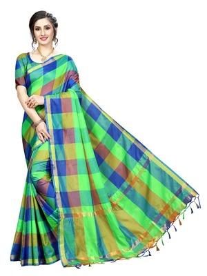 Green Ikat Checks Cotton Silk Saree With Blouse
