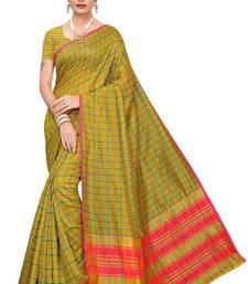 Mehandi Green Checks Cotton Silk Saree With Blouse