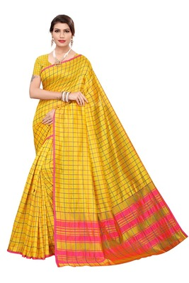 Yellow Checks Cotton Silk Saree With Blouse