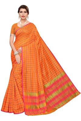 Orange Checks Cotton Silk Saree With Blouse