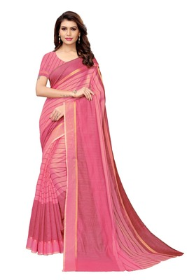 Pink Cotton Silk Saree With Blouse