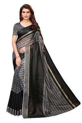 Black Cotton Silk Saree With Blouse