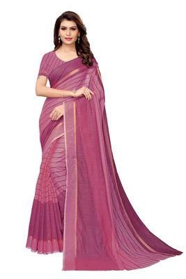 Wine Cotton Silk Saree With Blouse