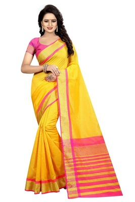 Yellow Pink Cotton Silk Saree With Blouse