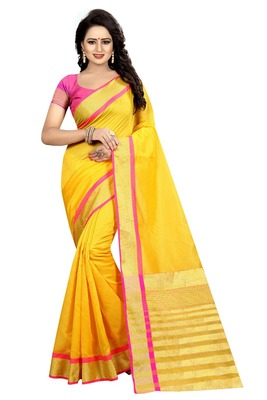 Yellow Gold Cotton Silk Saree With Blouse