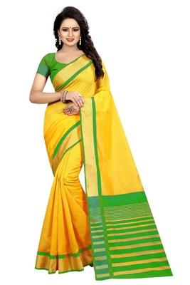 Yellow Green Cotton Silk Saree With Blouse