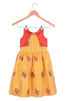 Kids Yellow And Red Frock