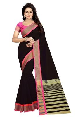 Black Pink Cotton Silk Saree With Blouse