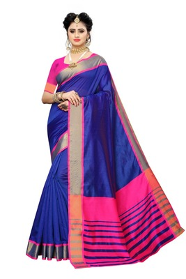 Blue Pink Cotton Silk Saree With Blouse