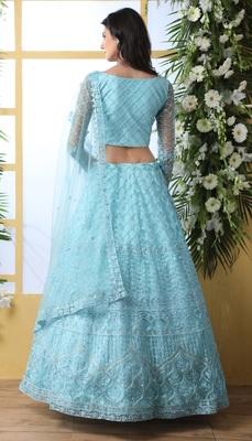 Sky Blue Embroidered Net Semi Stitched Lehenga