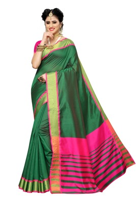 Green Pink Cotton Silk Saree With Blouse
