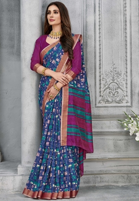 multicolor woven silk saree with blouse