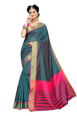 Turquise Pink Cotton Silk Saree With Blouse