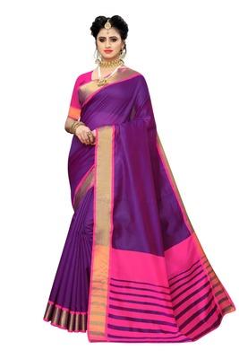 Purple Pink Cotton Silk Saree With Blouse