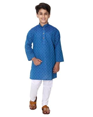 Blue printed cotton silk boys-kurta-pyjama