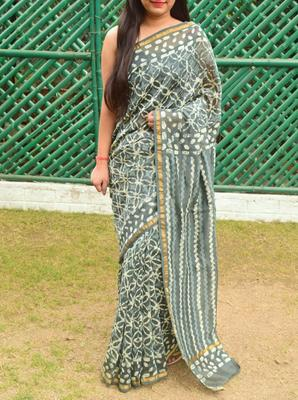 Grey printed chanderi silk saree with blouse