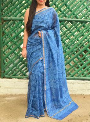 Blue printed chanderi silk saree with blouse