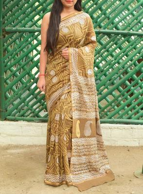 Golden Printed Chanderi Silk Saree With Blouse