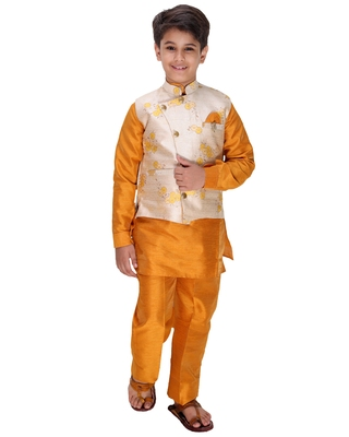 Yellow plain cotton silk boys-kurta-pyjama