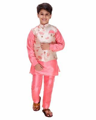 Pink plain cotton silk boys-kurta-pyjama