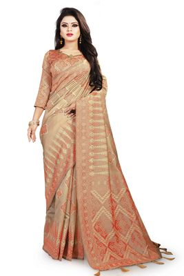 Beige woven cotton silk saree with blouse