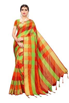Orange Green Checks Cotton Silk Saree With Blouse