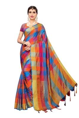 Blue Orange Checks Cotton Silk Saree With Blouse