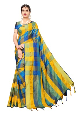 Blue Yellow Checks Cotton Silk Saree With Blouse