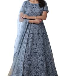 Grey Thread Embroidery Net Salwar