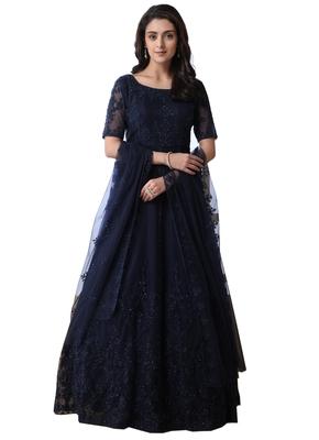 Navy-blue thread embroidery net salwar