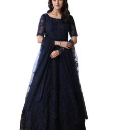 Navy Blue Thread Embroidery Net Salwar