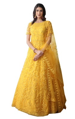 Yellow thread embroidery net salwar