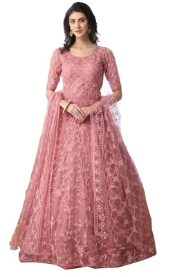 Peach thread embroidery net salwar