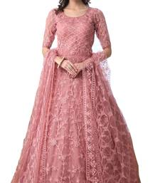 Peach Thread Embroidery Net Salwar