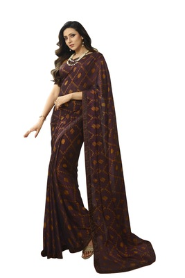 Maroon printed silk saree with blouse
