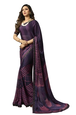 Violet printed silk saree with blouse
