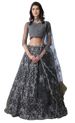 Grey embroidered net semi stitched lehenga