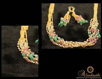 Alankruthi 8 Line Pearl Necklace Set
