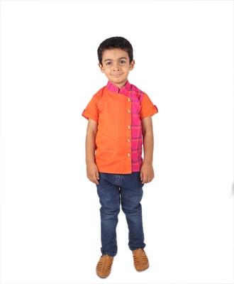 Orange printed cotton boys-kurta