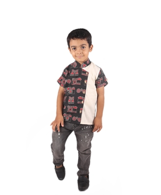 Black Camera printed cotton boys-shirt