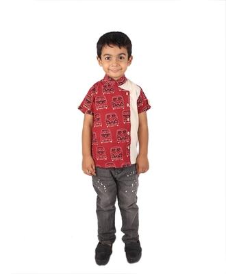 Maroon MiniBus printed cotton boys-shirt