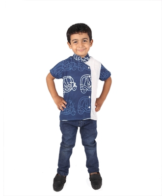 Blue printed cotton boys-kurta